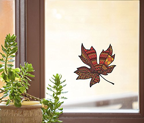 Patterned Leaf - Leaves - See-Through Vinyl Window Decal - Copyright Yadda-Yadda Design Co. (4.25