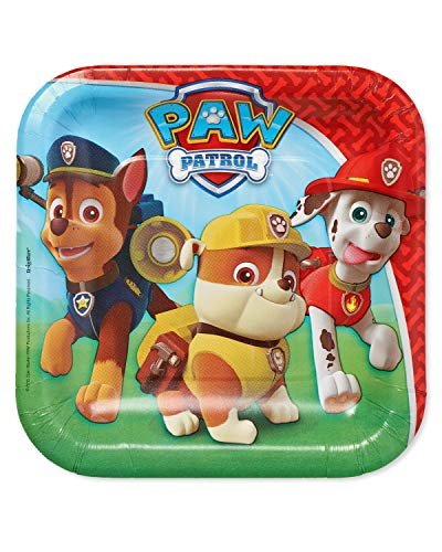 American Greetings Paw Patrol Party Supplies, Disposable Paper Dessert Plate, -