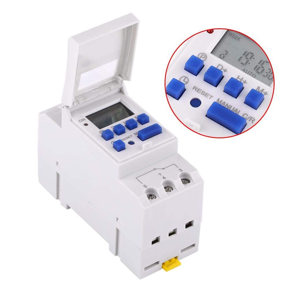 temporizador de interruptor electr/ónico con programas totales diarios y semanales montaje en riel superior Temporizador digital semanal con pantalla LCD 220V 16 programas de conmutaci/ón