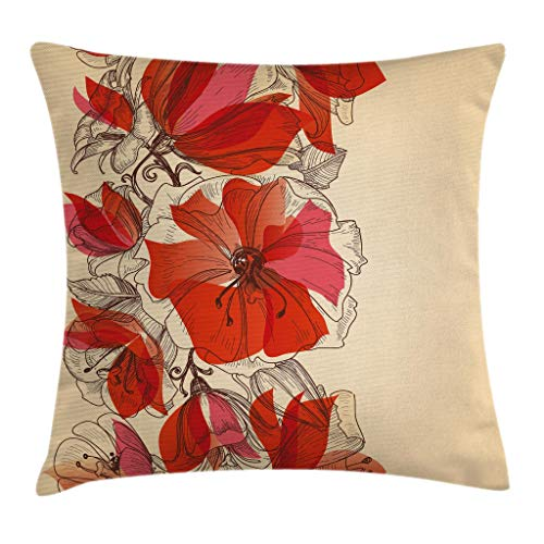 "Ambesonne Flowers Throw Pillow Cushion Cover, Floral Theme Flowers in Retro Style Pattern Romantic Design Traditional Print, Decorative Square Accent Pillow Case, 20"" X 20"", Brown Red"