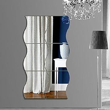 Adesivi Da Specchio.Kicode Adesivi Da Parete A Specchio 6pcs Set 3d Fai Da Te Rimovibile Combinazione D Onda Bricolage Art Decorazione Domestica Della Stanza Da Letto