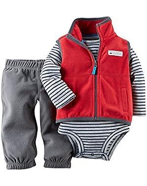 Carters Baby Boys' Fleece 3-Piece Vest Set - Red - 3 Months
