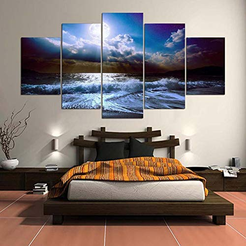 (KKJJ Canvas Wall Art for Living Room Modern Beach Seascape Non-Woven Canvas Pictures | Personalised Printed Artwork for Living Room - Frameless,C,55x100cm)