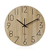 Imoerjia Wall Clock Wood Silence in Living Room Table Creative Wooden Clocks,35Cm
