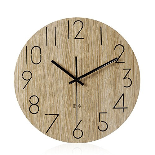 Imoerjia Wall Clock Wood Silence in Living Room Table Creative Wooden Clocks,35Cm by Imoerjia