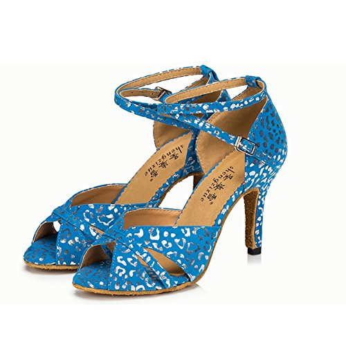 Indoor Color Latin Glitter Printing amp; Glitter Sparkling 33 Evening Suede Heel Size Blue Women's B Party A White Sparkling Shoes Printing Shoes Dance Sandal 0dHwq
