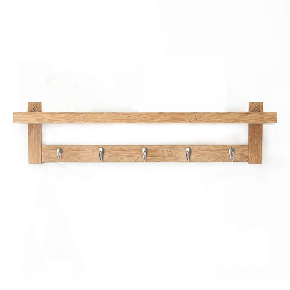 Wood color 74cm Wall-Mounted Coat Rack Solid Wood Hangers Living Room Hook Up Storage Rack Wall Hanger White 48cm Creative Bedroom Haiming (color   Brown, Size   74cm)