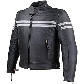 TRACK MOTORCYCLE BIKER ARMOR LEATHER JACKET BLACK XXL