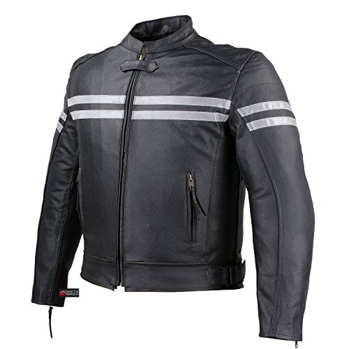 TRACK MOTORCYCLE BIKER ARMOR MEN LEATHER JACKET BLACK XL