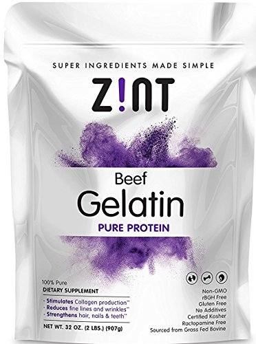 Zint Beef Gelatin Powder (32 oz): Unflavored Kosher Collagen Based Gelatin Protein - Paleo Friendly - Non GMO - For Baking, Jello & Thickening