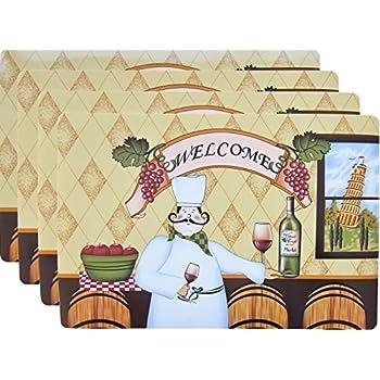 Amazon Com Placemat Set 4 Pcs Fat French Chef Kitchen