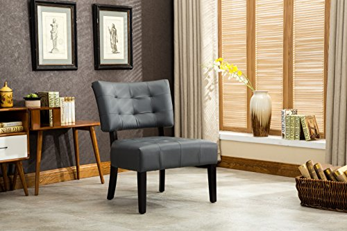 Leather Accent Chair - Roundhill Furniture AC002GY Bally Blended Grey Leather Tufted Accent Chair with Oversized Seating