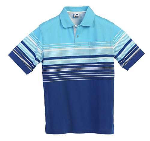 Gioberti Mens Modern Fit Striped Polo Shirt With Pocket  Blue  Large