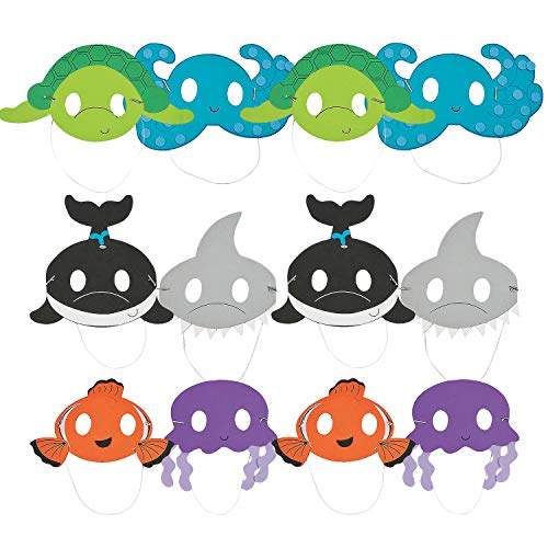 Fun Express Ocean Animal Mask Craft Kit   Makes 12 Pieces   Great for Birthday Parties, DIY Arts & Crafts, Photo Booth Props