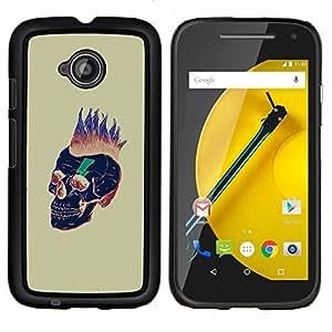 """For Motorola Moto E2 / E 2nd gen Case , Pelo Punk Oro Cráneo Muerte Negro"""" - Diseño Patrón Teléfono Caso Cubierta Case Bumper Duro Protección Case Cover Funda"""