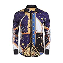 Coofandy Men's Long Sleeve Luxury Design Printed Dress Shirt