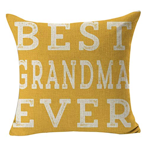 Treely Farmhouse Pillow Cover 18 x 18 Inch Decorative Pillow Covers for Thanksgiving Props(Best Grandma -