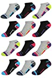 'Heelys Girls 12 Pack Athletic No-Show Socks with Arch Support (9-11, Grey, Black)'