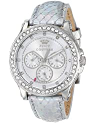 Juicy Couture Womens 1901063 Pedigree Silver Metallic Leather Strap Watch
