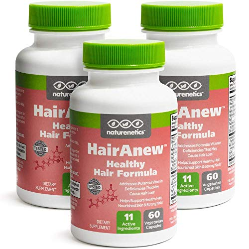 HairAnew (Unique Hair Growth Vitamins with Biotin) - Tested - for Hair, Skin and Nails - Women and Men - Addresses Vitamin Deficiencies That Could be The Cause of Hair Loss or Lack of Regrowth (3)