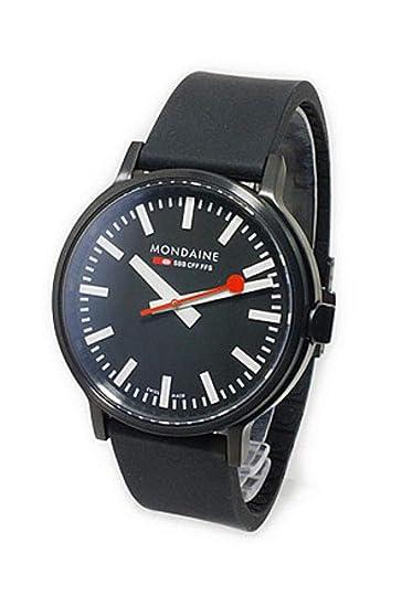 Mondaine correa de reloj A512.30358.64SPB / 30358 Caucho / plástico Negro 20mm(Sólo reloj correa - RELOJ NO INCLUIDO!): Amazon.es: Relojes