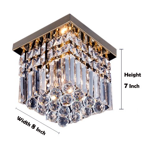 Moooni Hallway Crystal Chandelier 1 - Light W8'' Mini Modern Square Flush Mount Ceiling Light Fixture by Moooni (Image #2)