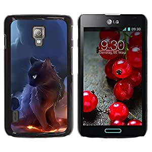 Paccase / SLIM PC / Aliminium Casa Carcasa Funda Case Cover para - Black Majestic Cat - LG Optimus L7 II P710 / L7X P714