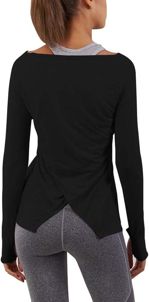 Bestisun Long Sleeve Workout Shirts Yoga Tops for Women with Thumb Hole