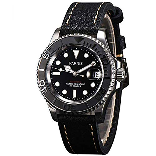Solid Parnis 41mm Black Dial Luminous Marks Ceramic Bezel Sapphire Glass 5ATM Water Resistance Automatic Movement Men's Watch