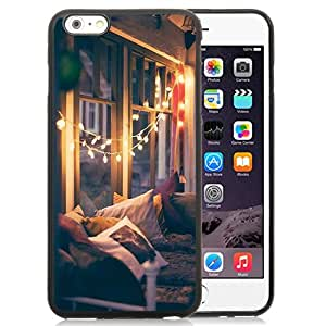 Fashion Custom Designed Cover Case For iPhone 6 Plus 5.5 Inch Phone Case With Christmas Lights Interior Decoration_Black Phone Case