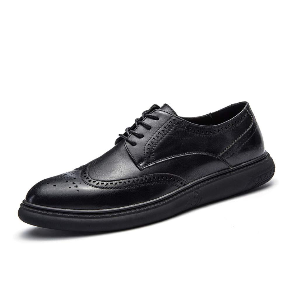 Hilotu Clearance Men's Casual Soft Bottom Regular Cotton Warm Brogue Shoes Wingtip Comfort Formal Business Oxfords (Color : Black, Size : 9.5 D(M) US)