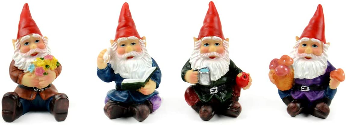 Small Gnomes Assortment of Gnomes Touch of Nature Gnome Assortments 4 pc Garden Gnomes Garden Gnomes Micro 1 Gnomes Miniature Gnomes