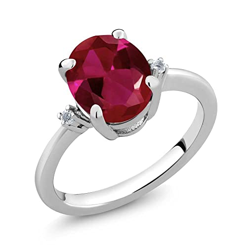 Gem Stone King 3.38 Ct Oval Red Created Ruby and White Diamond 925 Sterling Silver Women s Ring Available 5,6,7,8,9