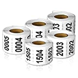 Consecutive Number Labels Self Adhesive Stickers ''0001'' to ''2500'' (White Black / 1.5'' x 1'') - 2500 labels total.