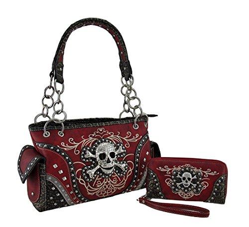 Rhinestone Skull Metallic Trim Concealed Carry Purse/Wallet Set Red (Rhinestone Purse And Wallet Set)