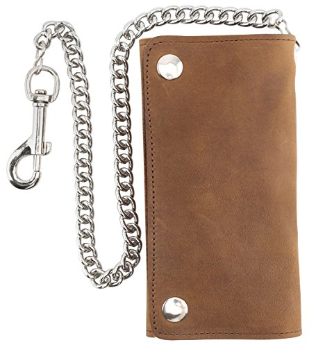 (RFID Blocking Men's Tri-fold Vintage Long Style Cow Top Grain Leather Steel Chain Wallet,Made In USA,Snap closure,pu339,crazy horse brown)