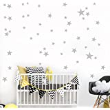 Kimloog 34Pcs Stars Vinyl Wall Stickers Kids Rooms Decor Removable Mural Decals (Gray)
