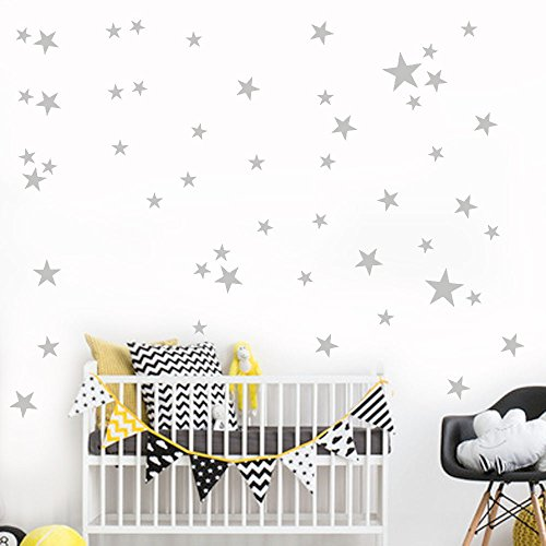38Pcs Wall Stickers, E-Scenery Star Peel and Stick DIY 3D Wall Decals Mural Art Wallpaper for Kids Room Home Nursery Party Window Decor (Gray) for $<!--$0.99-->
