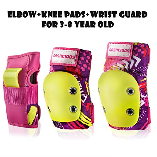 GASACIODS Kids/Child Sports Protective Gear, Colorful Shell Fabric Thickened Unzerbrechlich Design,Knee Pads Elbow Pads Wrist Guards Pads Set for Skateboarding Inline Roller Skating Cycling Bike (Sports Bike Knee Pads)