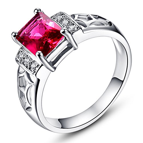 PAKULA Womens Brilliant 6mmx6mm Emerald Cut Ruby Spinel Cubic Zirconia Engagement ()