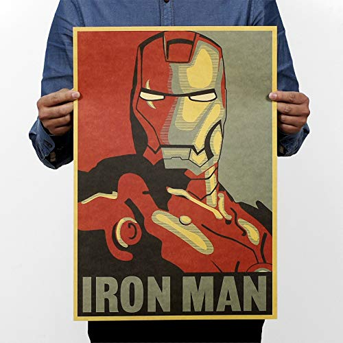 HATOLY NPH-065 Vintage Retro Poster Kraft Paper 51x35 cm Famous Movie Iron Man Cartoon Painting Wall Art Craft Home Decor