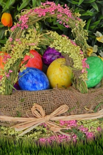 Handmade Easter Basket and Colorful Foil Wrapped Chocolate C