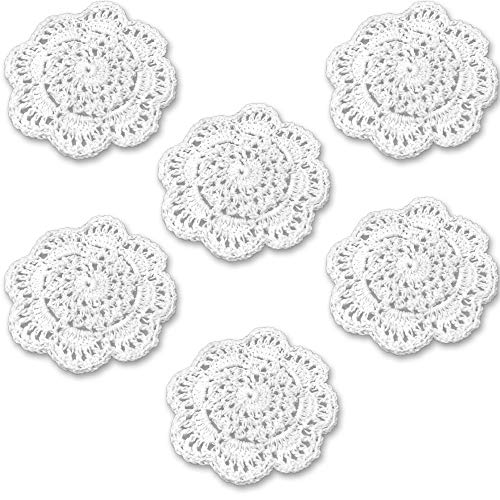 Rusoji Pack of 6 Handmade 4-Inch Small Plain Color Round Cotton Lace Crochet Coasters Placemat Doilies (White)