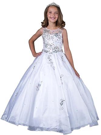 Amazon.com: MengLu Girls\' Royal Blue Scoop Flower Wedding Sparkle ...
