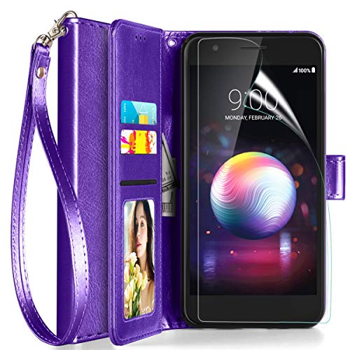 Axiay LG Aristo 2/Aristo 3 Case Wallet,LG Aristo 3 Plus/Tribute Empire/K8+/Fortune 2 Phone Case w Screen Protector,Kickstand Magnetic Card Slots Wrist Strap Flip Folio Shockproof Leather Case,Purple