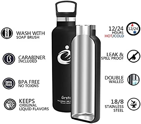 600ml//20oz,100/% Leak /& Sweat Proof GRSTA Stainless Steel Water Bottle Vacuum Insulated Thermos Flask Hydrate Fruit Filter Drink BPA Free Water Bottles