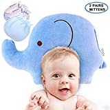 BUOCEANS Shaping Pillow, Infants Flat Head and Reflux Prevention,Hypoallergenic Organic, Include 2 Pairs Newborn Baby Mittens (Silk Cotton with Adjustable Drawstring), Blue