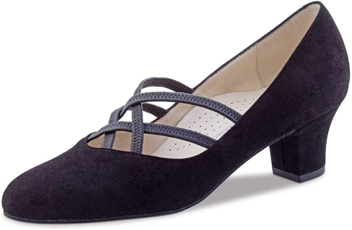 Made in Italy Chevro Argent 5,5 cm Flare Werner Kern Femmes Chaussures de Danse Tiziana 5,5
