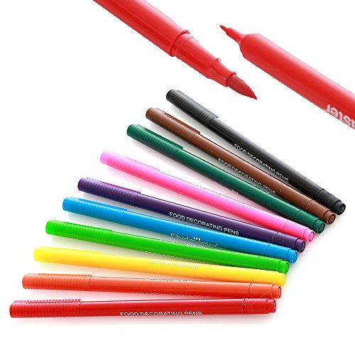 Chefmaster Double Sided Food Coloring Markers (10-Pack), Fine & Thick Tip Food Grade Pens, Edible Ink Colors for Easter Treats and Holiday Desserts, Food Pens for Writing on Easter Eggs