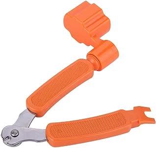 3 in 1 Professional Guitar String Winder Cutter and Bridge Pin Puller, Guitar Repair Tool Functional (Orange)
